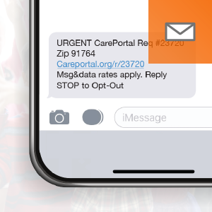 Receive CarePortal requests via text message